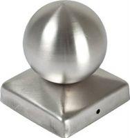 Pfostenkappe Edelstahl 71 mm MIT KUGEL Kappe für Pfosten 7x7 cm V2A
