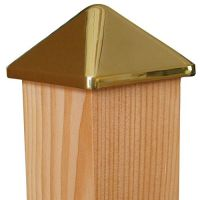 Pfostenkappe Messing 104 x 104 mm, Pyramide, mit Dorn, Kappe für Pfosten 100 x 100 mm