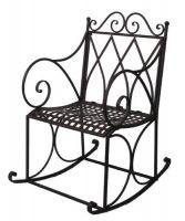 Schaukelstuhl H 105 x B 61 x T 85 cm Stuhl Metall dunkelrostfarben lackiert 79212