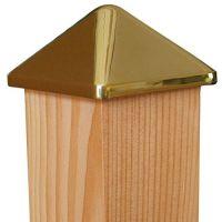 Pfostenkappe Messing 78 x 78 mm, Pyramide, mit Dorn, Kappe für Pfosten 70 x 70 mm