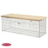 Bellissa Gartenbank Gabionenbank L155xB50xH54 cm, Sitzfläche aus Douglasienholz, Sitzbank, Gabione,