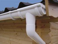 Kunststoffdachrinne für 2-seitige Dachlänge 6,5 Meter Rundrinne 78 mm Weiß