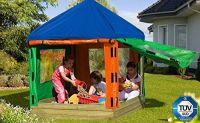 Kinderpavillon SET 153 x 153 x H180 cm Sandkasten aus Holz mit Pavillon und Plane