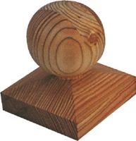 Pfostenkappe aus Lärchenholz 90 x 90 mm für Pfosten bis 7x7 cm mit Kugel Ø 7 cm