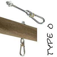 PREMIUM Schaukelhaken M12x250 mm MIT KARABINER für Holzstärke 90-120 mm