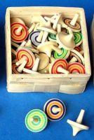 10 Stück Beck Holz Kreisel mit Ringen 50012 bunt Holzkreisel 50012