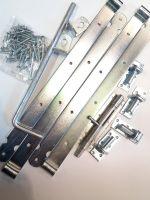 Doppeltorbeschlag-Set verzinkt Doppeltoruberwurf Bodenschieber Auflaufstutze Ladenbänder 600mm