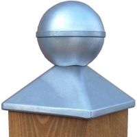 Pfostenkappe Aluminium 130 x 130 mm, mit Kugel, Kappe für Pfosten 12x12cm