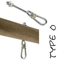 2er SET PREMIUM Schaukelhaken M10x230 mm MIT KARABINER für Holzstärke 70-100 mm