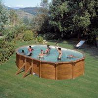Pool-Set Feeling oval 500x300x120 cm Holzoptik