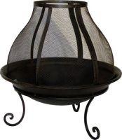 Feuerschale mit Funkengitter H 60 x Ø 62 cm Feuerkorb Lagerfeuer dunkelrostfarben lackiert