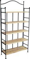 Metallregal mit Holzböden H 176 x B 89 x T 33 cm Regal Metall Holz 75474