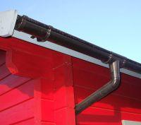 Kunststoffdachrinne für 2-seitige Dachlänge 6,5 Meter Rundrinne 78 mm Braun