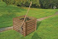 Holzkomposter 90x90xH70 cm Kiefer braun kesseldruckimprägniert mit Holz-Stecksystem